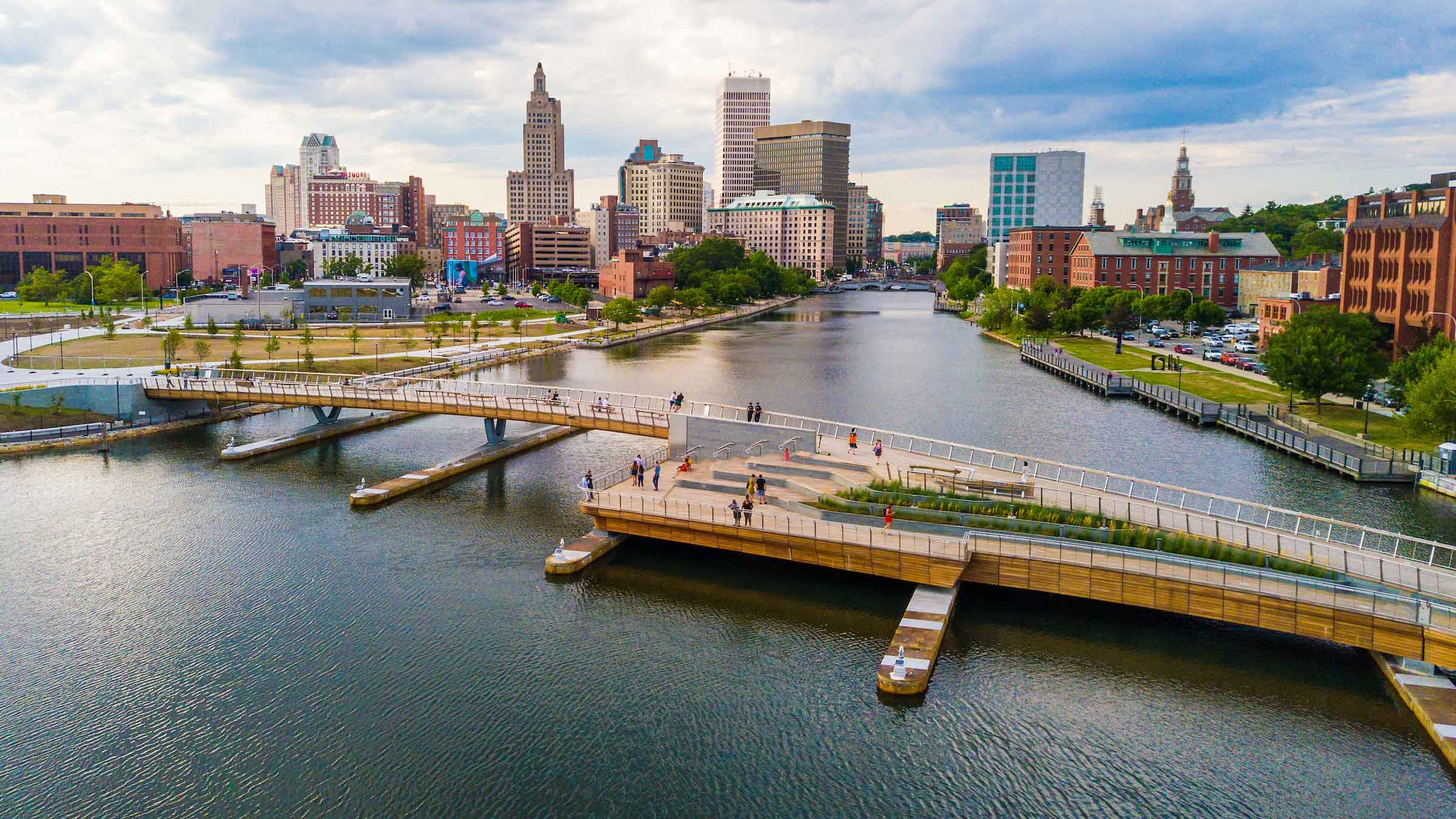 Pedestrian bridge in downtown Providence