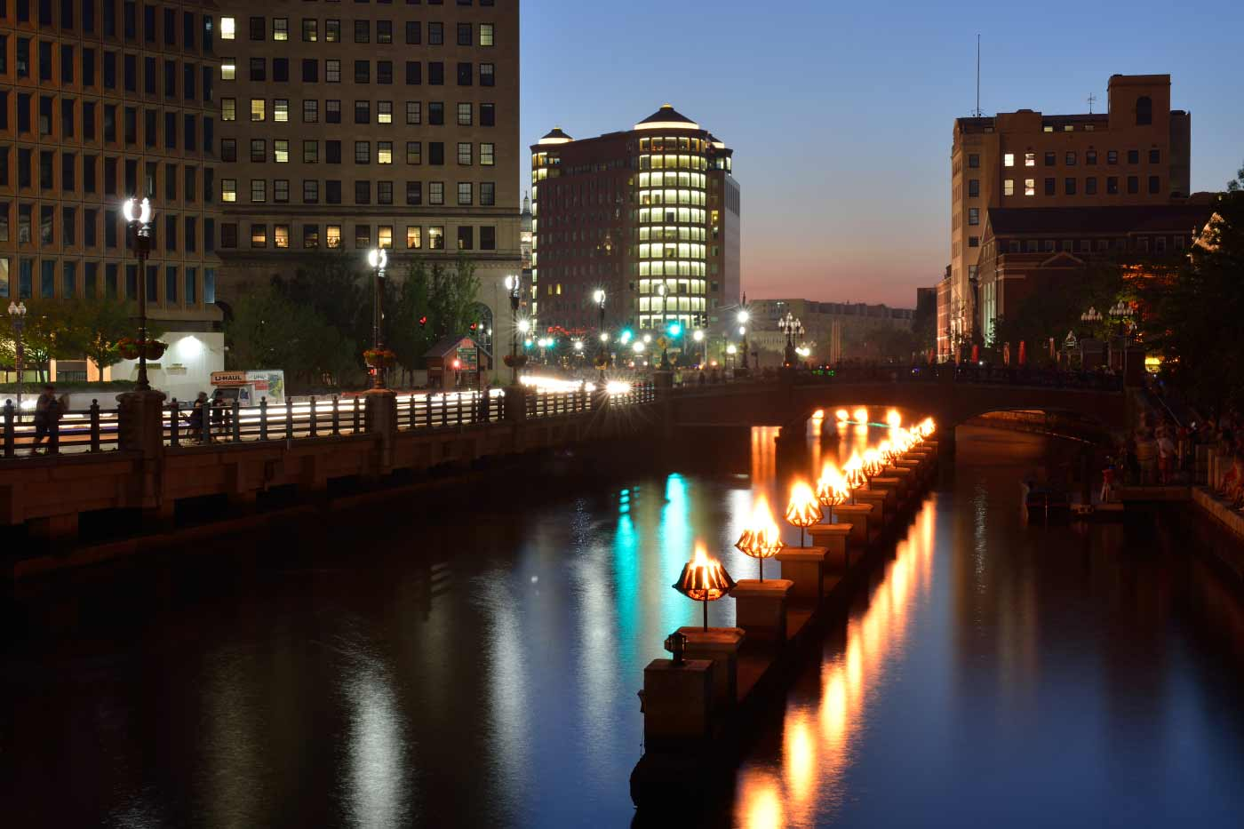 Waterfire in downtown Providence, RI