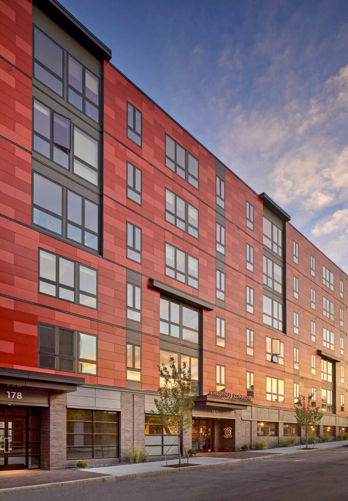 Exterior of Chestnut Commons loft spaces in Providence